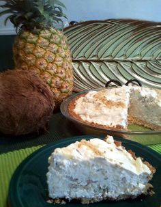 Paradise Pie; a tropical, no-bake freezer delight containing pineapple, coconut and pecans.
