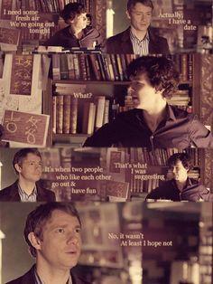 Oh Sherlock, showing your socially challenged side again, are we? geek, sherlock bbc, friends, dates, ship, scene, sherlock holmes, fandom, 221b baker