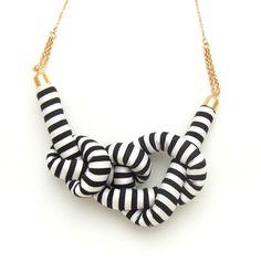 Stripe Rope Knot Necklace  BLACK by HOMAKO on Etsy, $45.00