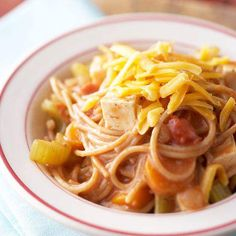 Using reduced-fat cheddar and mulitgrain spaghetti is a great way to get your kids to eat healthier! More healthy dinner ideas: http://www.bhg.com/recipes/slow-cooker/healthy/healthy-slow-cooker-recipes/?socsrc=bhgpin092113cheesymultigrainspaghetticasserole&page=8 @Amanda Jean