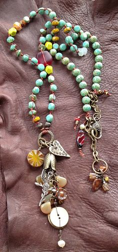 handcraft design, beaded necklaces, charms, necklac color, toni mccarthi, design jewelri, beads, charm rosari, designer jewelry