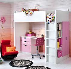 Cama alta Ikea http://www.mamidecora.com/literas-infantiles-ikea-ni%C3%B1os.html