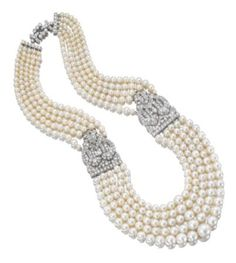 natural pearl and diamond necklace, Cartier, 1930s