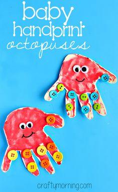 button handprint octopus craft