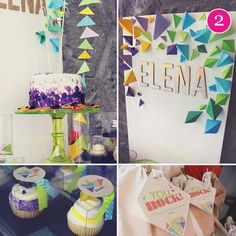 Geometric Rock Climbing Birthday Party with a super cool 3D backdrop