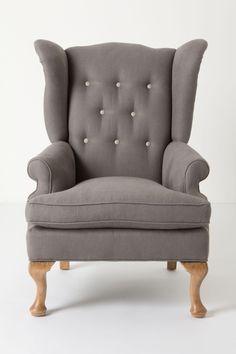 Wingback grey armchair