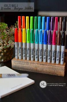 How to Make a Wooden Sharpie Holder | diy pencil marker organizer #sharpiebts #ad #pmedia #sharpie