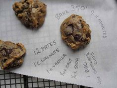 GF, Chocolate Chip Cookies with dates: I would do 300 degrees, instead, for 15 in a gas stove. I would also reduce the chocolate to 2 or 3 oz.