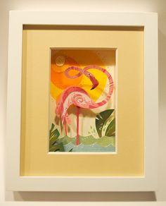 FLAMINGO~paper flamingo art
