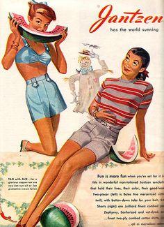 Jantzen has the world sunning! #vintage #summer #beach #fashion #ads