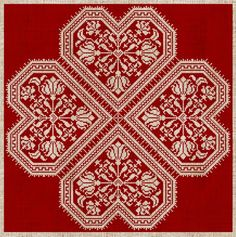 'Flowering Hearts' Danish cross stitch #embroidery design.