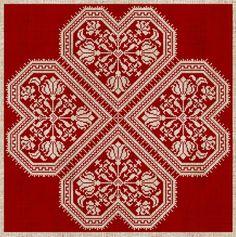 'Flowering Hearts' Danish cross stitch #embroidery design.