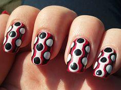 Large Stripes and Polka Dot Nails
