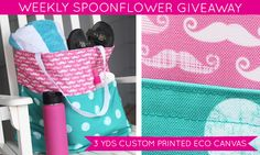 Check out this week's Spoonflower giveaway-- a chance to win three custom-printed yards of their newest fabric Eco Canvas!