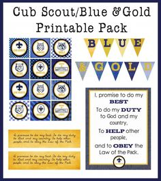 Blue & Gold Printable Pack - I know lots of people who would love to have this to decorate their banquets with.