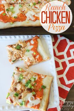 Easy Ranch Chicken Pizza is spread with a ranch-cream cheese sauce and is topped with shredded chicken, green onion, mozzarella cheese and bacon bits. It is so delicious!