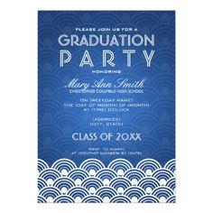 Elegant Graduation Party Scallop Blue Personalized Invitations
