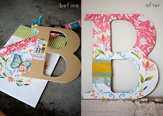 Love this! Cutouts from magazines or tissue/scrapbook paper and wooden letters <3 did this to a picture frame once :)
