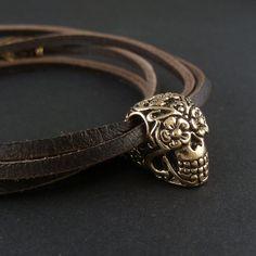 Sugar Skull Bracelet Bronze Sugar Skull on Leather Bracelet