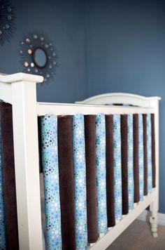 crib bumpers go vertical #baby #nursery #crib #bumpers--Love this bc I am a new freako mom and i will worry about the baby gettin caught in between the other kind.