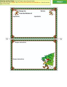 "Winter Collection 2 - Recipe Card Templates for MS WORD or Acrobat Reader.    This collection includes 20 recipe card templates for Microsoft® Word on a Windows® system and copies in a .pdf file format for Acrobat Reader.     Designs are available in both 3""x5"" and 4""x6"" recipe card sizes as well as 6""x5"" and 8""x6"". These are large recipe cards that are double in size leave lots of room for writing.       http://printsofjoy.com/recipe_card_templates.shtml"
