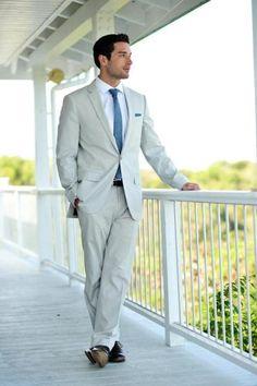 A sharp look for a beach wedding! #groom #style