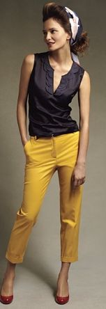 50's chic colored pants, fashion, style, color combos, red shoes, yellow pant, outfit, color pant, mustard yellow