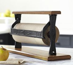 Cuisine Paper Towel Holder #potterybarn ~ love the rustic look of this. I want one in my kitchen.