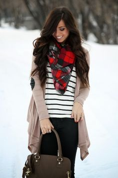 Stripes, plaid, elbow patch cardigan, fall & winter outfit