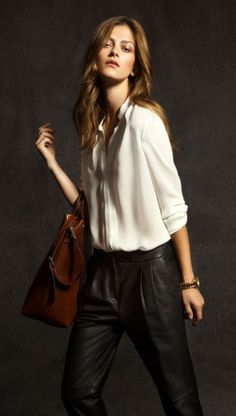 leather pants & white blouse- chic