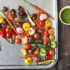 Grilled Baby Veggies with Arugula-Mint Pesto Sauce