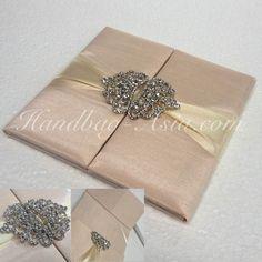 Dupioni Silk Invitation Folder In Soft Pink Color