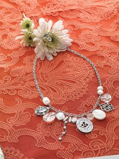 #Enchanted #Necklace // You can just feel the magic of this captivating Necklace.  #Cubic Zirconia, #Pearl, #Mother-of-Pearl, # Glass, #Sterling #Silver #Silpada #Jewelry