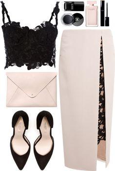 Ermanno Scervino crop top / Marios Schwab wool skirt / Zara high heel pumps / Pink handbag / Chanel cosmetic / Narciso rodriguez perfume