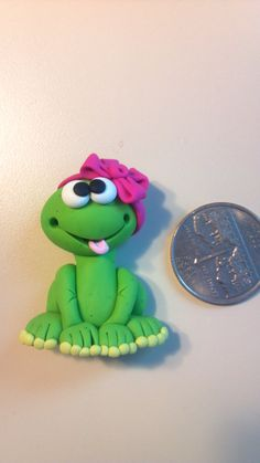 OOAK++FROG+GIRL+++Polymer+Clay+Bow+Center+by+AlishaTodd+on+Etsy,+$4.50