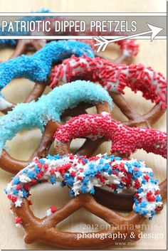 Patriotic Dipped Pretzels. This one is super easy + the kiddos can help, too!
