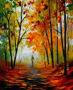 MELODY OF AUTUMN — PALETTE KNIFE Oil Painting On Canvas By Leonid Afremov