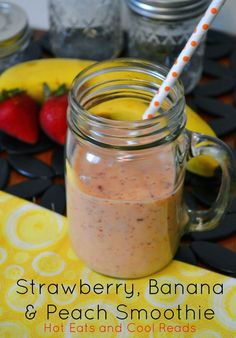 Delicious weekday morning breakfast! Strawberry, Banana and Peach Smoothie from Hot Eats and Cool Reads!