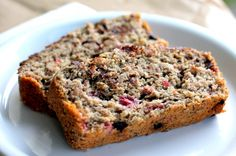 Dark Chocolate Raspberry Oatmeal Banana Bread via ambitiouskitchen.com #healthy #glutenfree