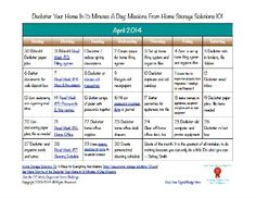 Free printable April 2014 decluttering calendar, with daily 15 minute missions {on Home Storage Solutions 101}
