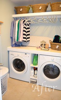 The shelf on top hiding the hanging rod looks nice. Also like the shelving between the washer and dryer