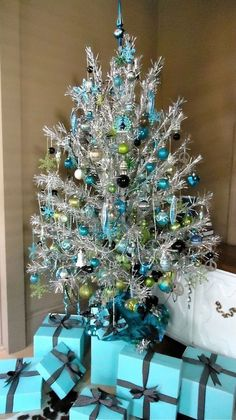 blue + silver tinsel tree