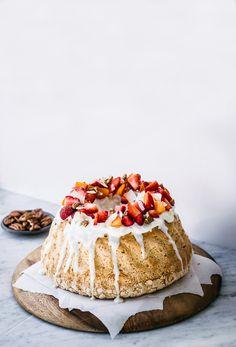 Coconut Angel Food Cake with Greek Yogurt Frosting