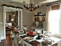 Love the wall color and big window table decorations, christmas dinners, dining rooms, vintage tables, christmas tables, christma tabl, white christmas, vintage homes, dinner tables