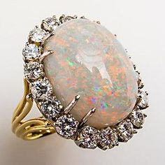 Stunning Vintage Natural Opal & Diamond Cocktail Ring Strong Brilliance 18K Gold