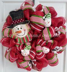 Blue & Silver Winter Wonderland Spiral Mesh Wreath by dottiedot05