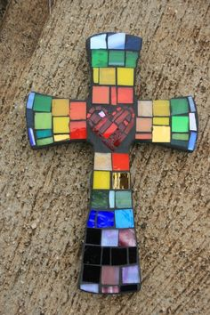 Mosaic MultiColored Cross with Heart in Center by DeniseMosaics http://www.etsy.com/listing/88440522/mosaic-multicolored-cross-with-heart-in