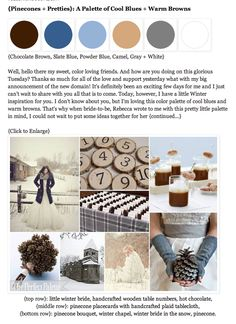 {Pinecones + Pretties}: A Palette of Cool Blues + Warm Browns http://www.theperfectpalette.com/2011/08/pinecones-pretties-palette-of-cool.html