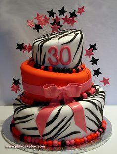 Zebra Print Topsy Turvy Birthday Cake by Pink Cake Box