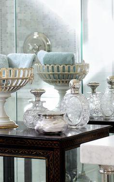 interior design, bottl, blue, jar, ana rosa, bath accessories, guest bath, bathroom, hand towels